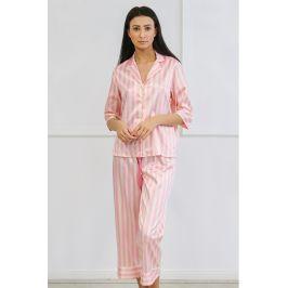 Saténové pyžamo Ashley dlouhé  růžová