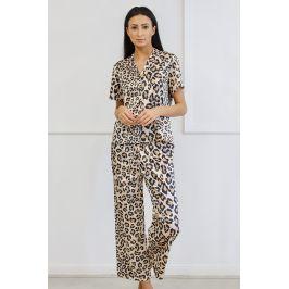 Saténové pyžamo Animal  hnědá