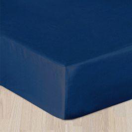 Modré prostěradlo s gumou Jednolůžko Bavlna - satén