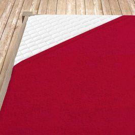 Napínací froté prostěradlo červené Jednolůžko Bavlna - froté