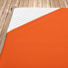 Napínací jersey prostěradlo oranžové Dvojlůžko Bavlna - jersey