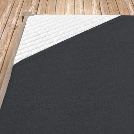 Napínací froté prostěradlo tmavě šedé Jednolůžko Bavlna - froté