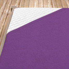 Napínací froté prostěradlo fialové Jednolůžko Bavlna - froté