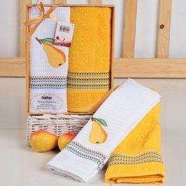 Dárková sada ručníku a utěrky Hruška 50x70 cm Bavlna