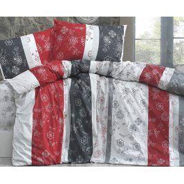 Povlečení Carmen šedočervené 140x220 jednolůžko - prodloužené bavlna