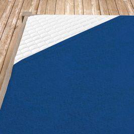 Napínací froté prostěradlo tmavě modré Dvojlůžko Bavlna - froté