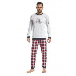 Pánské pyžamo CORNETTE Football all my life  šedočervená