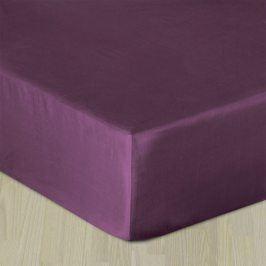 Napínací saténové prostěradlo fialové Jednolůžko Bavlna - satén