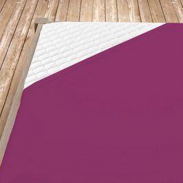Napínací jersey prostěradlo tmavě fialové Dvojlůžko Bavlna - jersey