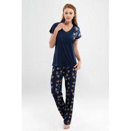 Dámské pyžamo Valeria dlouhé  modrá