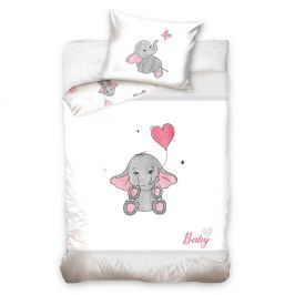 Povlečení do dětské postýlky Slon růžové Dětská postýlka bavlna