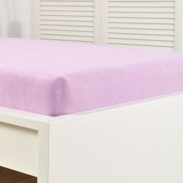 Napínací prostěradlo froté fialové Dvoulůžko - standard Bavlna - froté