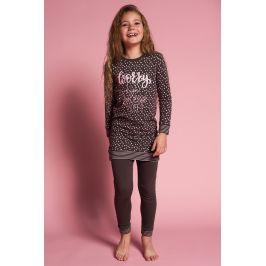 Dívčí pyžamo Worry less  hnědá