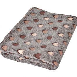 Dětská deka Milly srdíčka hnědá 75x100 cm béžová