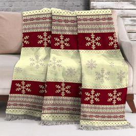 Vánoční deka Vločky 150x200 cm barevná