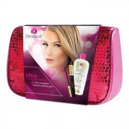 Dermacol Ultra Tech 10 ml dárková kazeta dárková sada pro ženy prodlužující řasenka 10 ml + čisticí micelární voda Sensitive 400 ml + růžová kosmetická taška Black