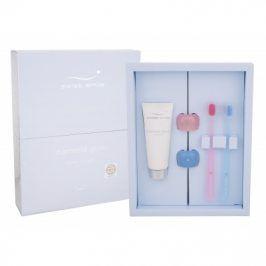 swiss smile Diamond Glow Jewel Trilogy dárková kazeta unisex bělicí zubní pasta 75 ml + porcelánový držák na zubní kartáček 2 ks + zubní kartáček 2 ks
