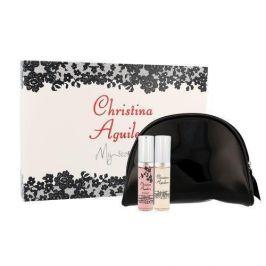 Christina Aguilera Mini Set 20 ml dárková kazeta dárková sada pro ženy edp Christina Aguilera 10 ml + edp Christina Aguilera By Night 10 ml + kosmetická taška
