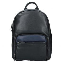 Pánský kožený batoh Hexagona Lion - černo-modrá