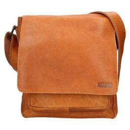 Pánská kožená taška přes rameno Justified Lendon - světle hnědá