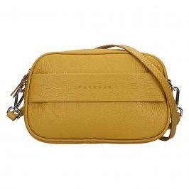 Trendy dámská kožená ledvinko crossbody kabelka Facebag - Hořčicová