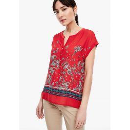 s.Oliver tričko z kombinace materiálů s kašmírovým vzorem 14.003.32.5191/58F0 Červená 34