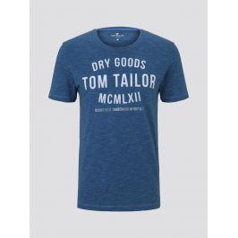 Tom Tailor pánské triko s nápisem 1008640/21869 Modrá XL