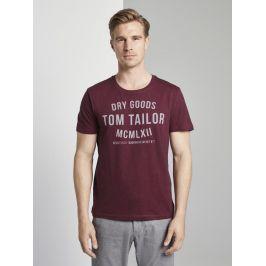 Tom Tailor pánské triko s nápisem 1008640/19494 Vínová XL