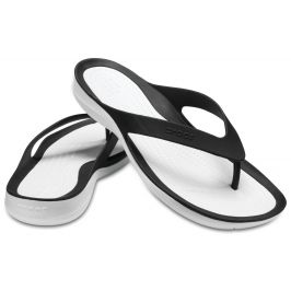 Crocs SwiftWater Flip - žabky Black/White Černá 39-40