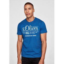 s.Oliver pánské triko s logem 03.899.32.4501/5545 Modrá M