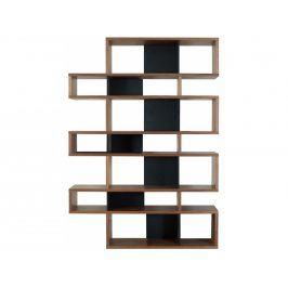 Knihovna Evora III. 220 cm, ořech/černá 9500.314797 Porto Deco