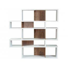 Knihovna Evora II. 160 cm, matná bílá/ořech 9500.314919 Porto Deco