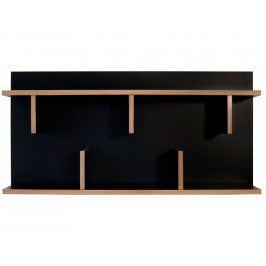 Nástěnná knihovna Rita 90 cm, černá 9000.318061 Porto Deco