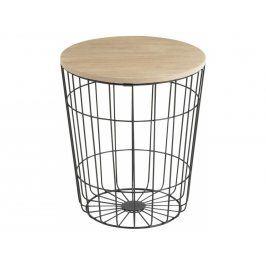 Odkládací stolek Rufus 34 cm, dřevo/kov, černá SCHDN0000075276 SCANDI