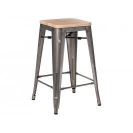 Barová židle Tolix 65, metalická/světlé dřevo 94579 CULTY