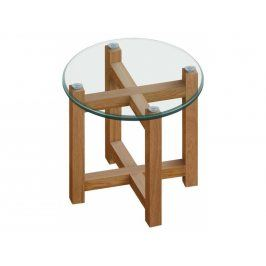 Odkládací stolek Amelie II 50 cm, sklo/dub SCHDN0000048829 SCANDI