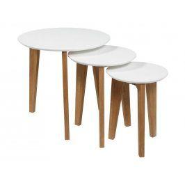 Set konferenčních stolků Alvin, bílá/dub SCHDN0000049335 SCANDI