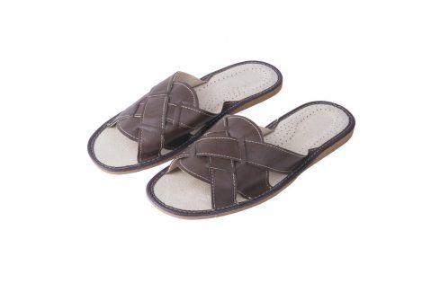Ovčí věci Pánské kožené pantofle hnědé vel. 40 Pánská obuv