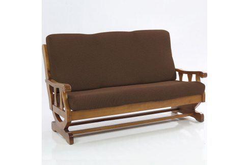 Nueva Textura decoDoma napínací potahy na sedací soupravu multielastický CARLA hnědé na sedačku - dvojkřeslo s dřevěnými rukojeťmi 140 - 170 cm Přehozy