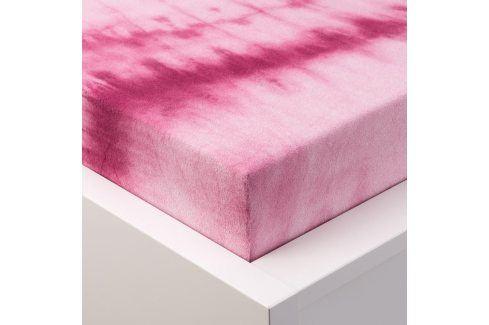 Hermann Cotton batikované napínací prostěradlo froté růžové 90 - 100 x 200 cm Prostěradla froté