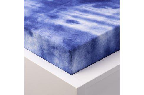 Hermann Cotton batikované napínací prostěradlo froté modré 90 - 100 x 200 cm Prostěradla froté