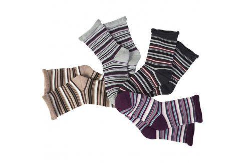 Hřejivé froté ponožky Proužky 5 párů vel. 39/42 Dámské ponožky