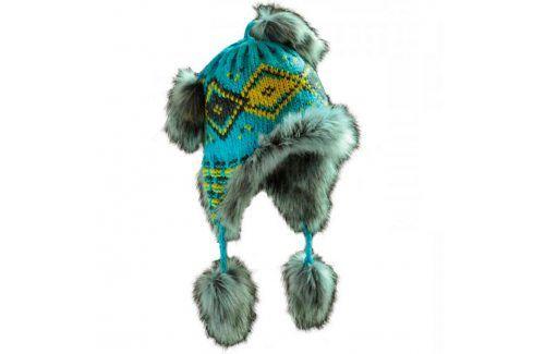 Ovčí věci Dámská zimní čepice s kožešinou modrá Zimní čepice
