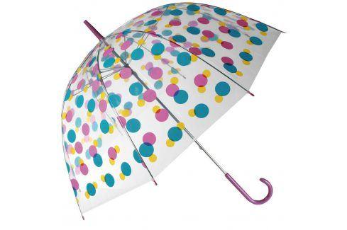 Dámský deštník průhledný s barevnými puntíky Deštníky