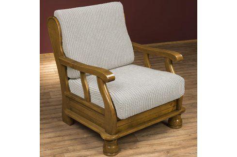 Nueva Textura decoDoma napínací potah na křeslo strečový GLAMOUR smetanové křeslo s dřevěnými rukojeťmi 60 - 80 cm Přehozy