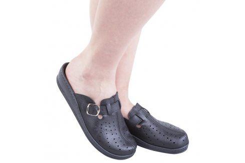 Dámské pantofle s plnou špičkou a přezkou černé vel. 37 Obuv
