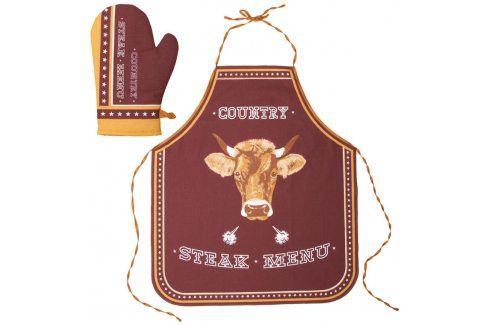 Kuchyňská zástěra a chňapka Steak Menu Zástěry