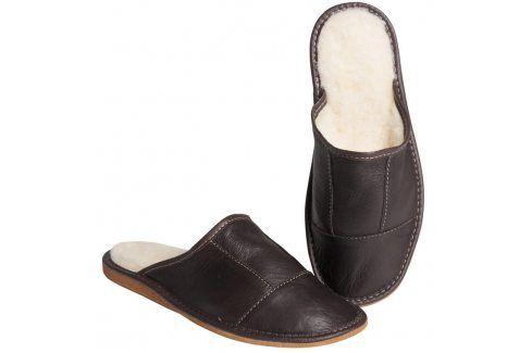 Ovčí věci Pánské kožené pantofle s ovčí vlnou hnědé vel. 44 Pánská obuv