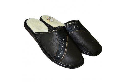 Pánská domácí obuv kožená černá vel. 42 Pánská obuv
