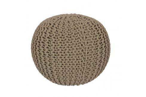 Ručně pletený puf béžový Pletené pufy